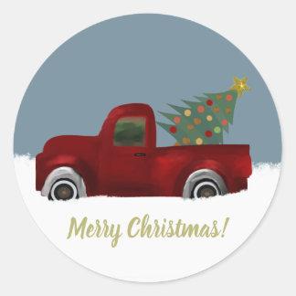 Sticker Rond Rétro arbre vintage rouge de camion et de Noël
