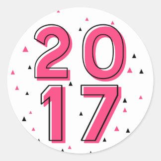 Sticker Rond Rétro bonne année 2017 de typographie de roses