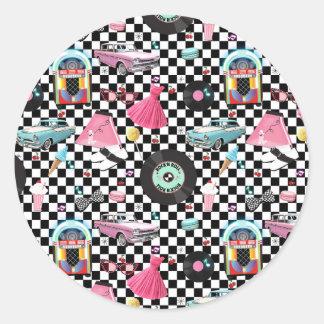 Sticker Rond Rétro cadeau record d'années '50 des années 50 des