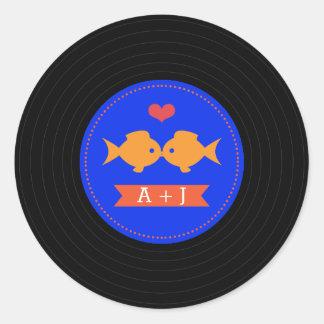 Sticker Rond Rétro disque vinyle moderne nautique
