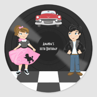 Sticker Rond Rétro fête d'anniversaire d'houblon de chaussette