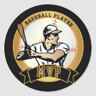 Sticker Rond Rétro joueur de baseball