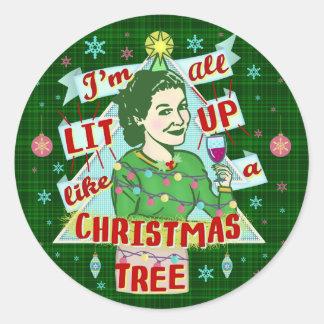 Sticker Rond Rétro Lit potable de femme d'humour de Noël drôle