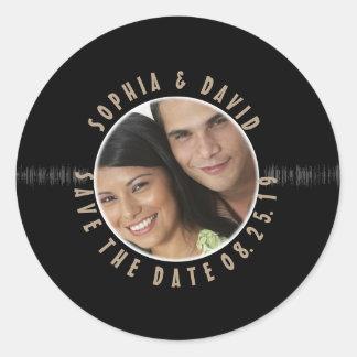 Sticker Rond Rétros ÉCONOMIES de PHOTO de mariage de disque
