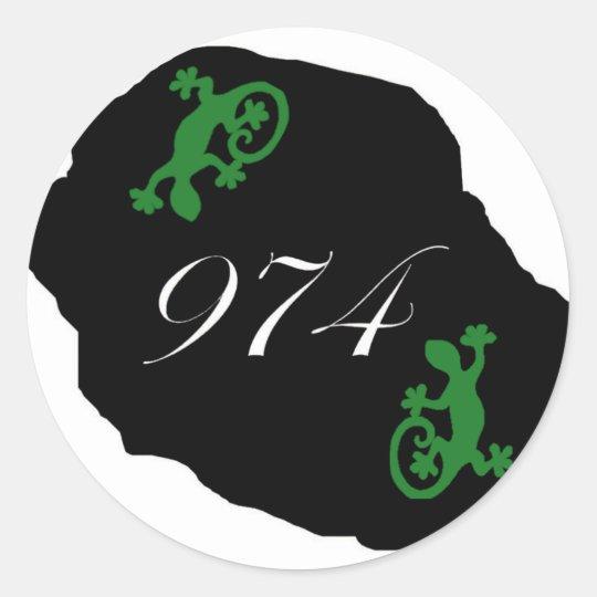Sticker Rond Réunion 974 - margouillat