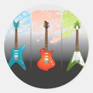 Sticker Rond Rêve d'amants de guitare électrique