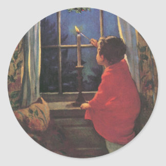 Sticker Rond Réveillon de Noël vintage par Jessie Willcox Smith