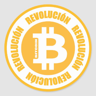Sticker Rond Révolution de Bitcoin (version espagnole)