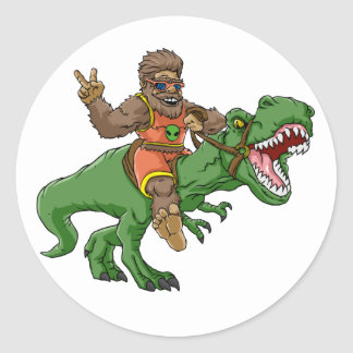 Sticker Rond rex Bigfoot de rex-T de la Bigfoot-bande dessinée