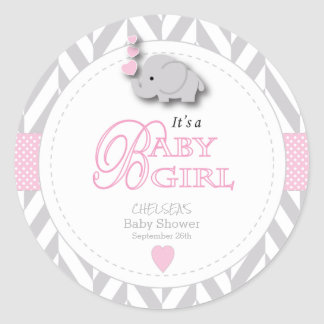 Sticker Rond Rose, baby shower gris blanc d'éléphant