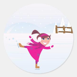 Sticker Rond Rose d'enfant de patinage de glace