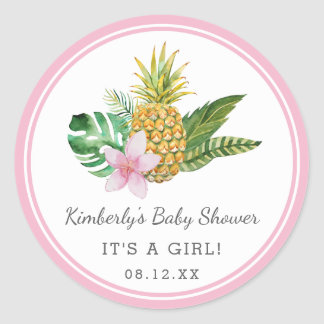 Sticker Rond Rose | du baby shower | de Luau d'aquarelle