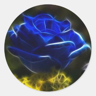 Sticker Rond Rose extraordinaire et unique de bleu