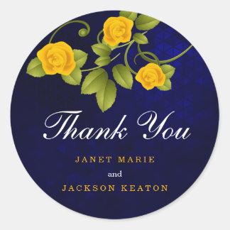 Sticker Rond Rose jaune bleu-foncé et de souci
