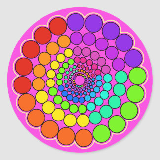 Sticker Rond Rose - mandala de spectre d'arc-en-ciel