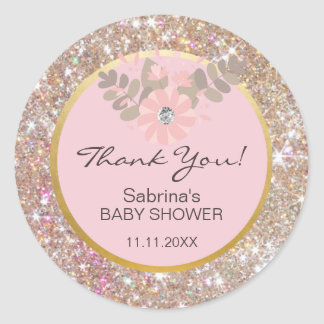 Sticker Rond Rose mignon, Brown, baby shower d'or de