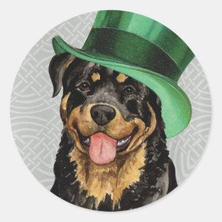 Sticker Rond Rottweiler du jour de St Patrick