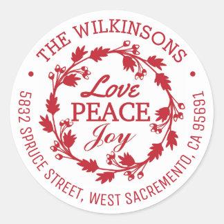 Sticker Rond Rouge de l'adresse   de joie de paix d'amour de