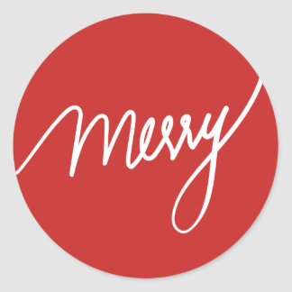 Sticker Rond Rouge en lettres de joyeuse main | de fête