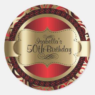 Sticker Rond Rouge et anniversaire d'abrégé sur remous d'or