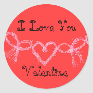 "Sticker Rond Rouge lumineux chaud ""je t'aime Valentine """