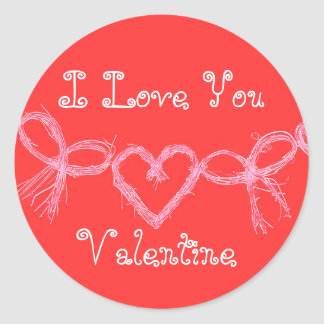 """Sticker Rond Rouge lumineux chaud """"je t'aime Valentine """""""