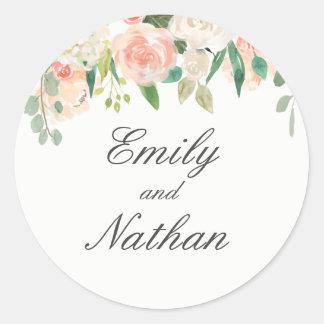 Sticker Rond Rougissent l'autocollant floral de mariage