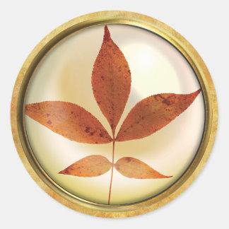 Sticker Rond Rouille de feuille d'arbre d'automne