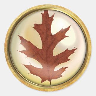 Sticker Rond Rouille de feuille de chêne d'automne