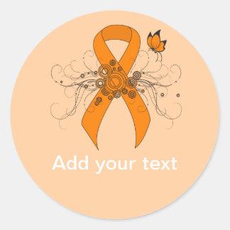 Sticker Rond Ruban orange avec le papillon