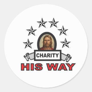 Sticker Rond Sa manière est charité