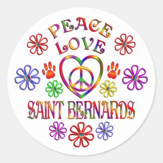 Sticker Rond Saint Bernards d'amour de paix