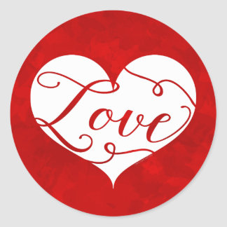 Sticker Rond Saint-Valentin rouge de remous de coeur