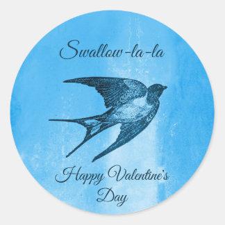 Sticker Rond Saint-Valentin vilaine de La-La d'hirondelle