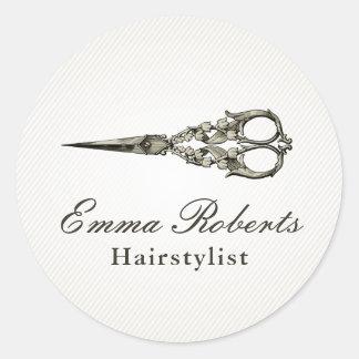 Sticker Rond Salon de coiffure antique de cru de ciseaux