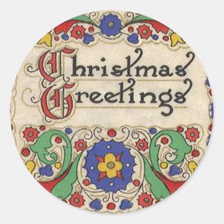 Sticker Rond Salutations vintages de Noël avec la frontière