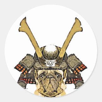 Sticker Rond samurai_pug