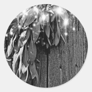 Sticker Rond Sauge rustique de lumière de scintillement