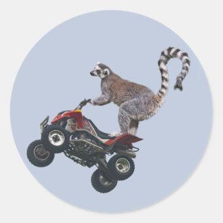 Sticker Rond Saut de l'autocollant de lémur