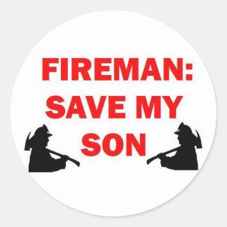 Sticker Rond Sauvez mon fils en cas de feu