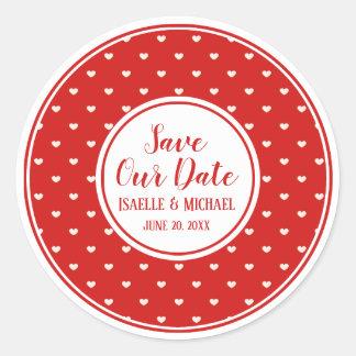 Sticker Rond Sauvez notre joint rouge et blanc de date