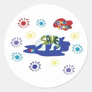Sticker Rond Sauvez-nous - les ours blancs