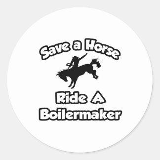 Sticker Rond Sauvez un cheval, montez un chaudronnier