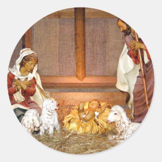 Sticker Rond Scène de nativité/famille sainte