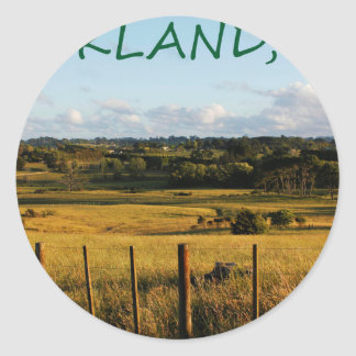 Sticker Rond Scène d'or de paysage
