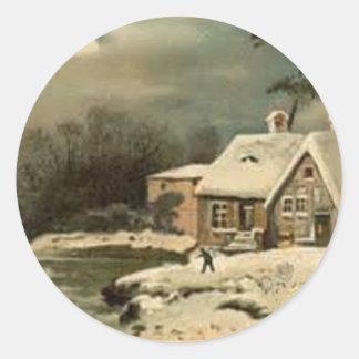 Sticker Rond Scène vintage d'hiver