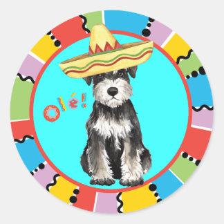 Sticker Rond Schnauzer miniature de fiesta