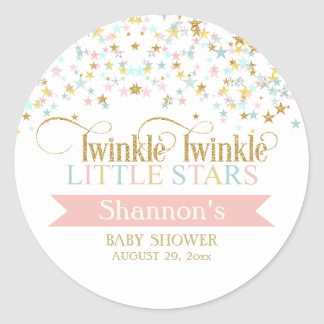 Sticker Rond Scintillement peu de baby shower de jumeaux