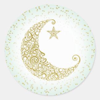 Sticker Rond Scintillement peu de menthe d'autocollant de lune