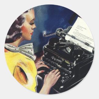 Sticker Rond Secrétaire vintage Typing Letter de cadre